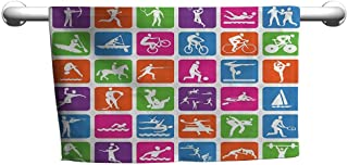 Floral Hand Towels Olympics Decorations Collection,Collection with 36 Sport Icons Basketball Cycling Diving Mountain Bike Wrestling Image,Green,Towel Dress for Women
