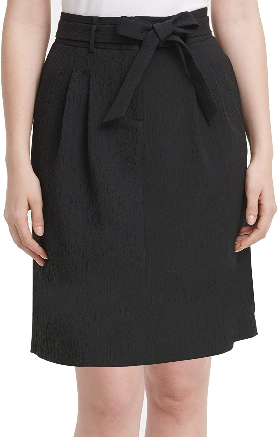 DKNY Womens Black Belted Above The Knee Pencil Wear to Work Skirt Size