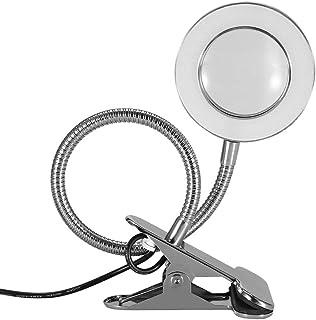 Lámpara de Aumento LED 2.5X, Lámpara de Lupa Recargable USB con Abrazadera de Metal, Lente de Lupa de Vidrio Óptico para Lectura, Belleza, Manicura, Tatuaje