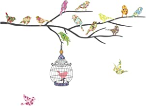 DECOWALL DW-1202 14 Birds on a Branch Kids Wall Stickers Wall Decals Peel and Stick Removable Wall Stickers for Kids Nurse...