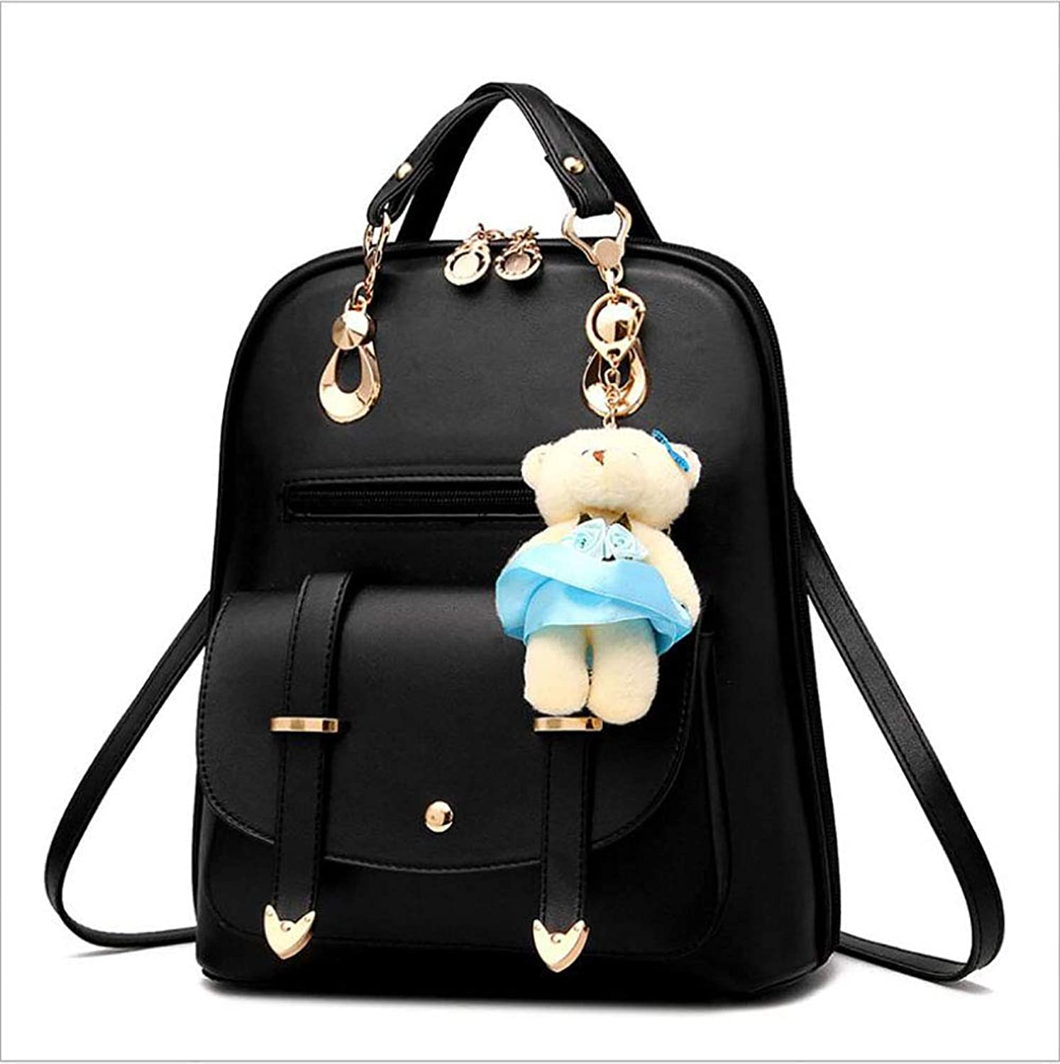 Women's Pu Fashion Backpack Bag Ladies Personality Wild Travel Large Capacity Shoulder Bag Tourism Get Together Shopping (color   A)