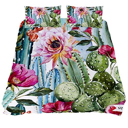 ASIGA Cactus Flora Double Duvet Cover Set 3 Pieces Bedding Set for Women Men,Bedroom Bed Linen
