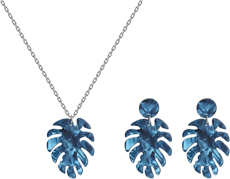 Leaf Earring Necklace Set Bohemian Acrylic Leaf Tropical Plant Dangle Earrings For Women
