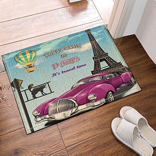 YYAANNGG Viaja en Globo aerostático de Aire Caliente Torre Eiffel Aire Caliente Alfombra de baño Alfombrilla Antideslizante para Sala de Estar Alfombra para niños Accesorios de baño 50x80cm