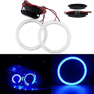 GrandviewTM 1 Pair (2pcs) Car Light LED Chips 100MM 72SMD Angel Eyes Halo Ring Headlight Warning Lamps 12V with Shell-Blue