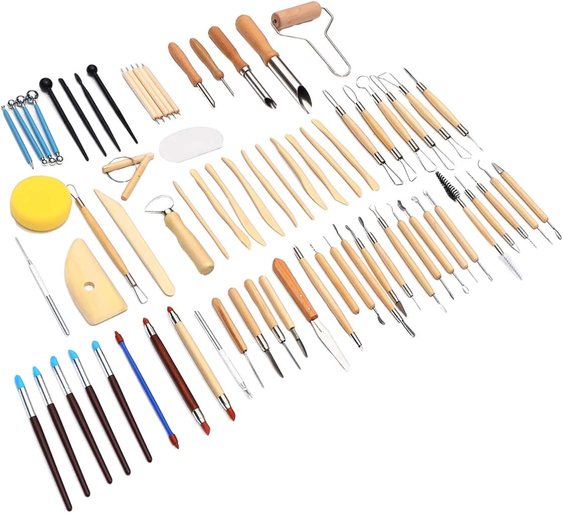 EXCEART 61pcs Dotting Tools Kit Max 60% OFF price Modeling Carving Clay Pottery To