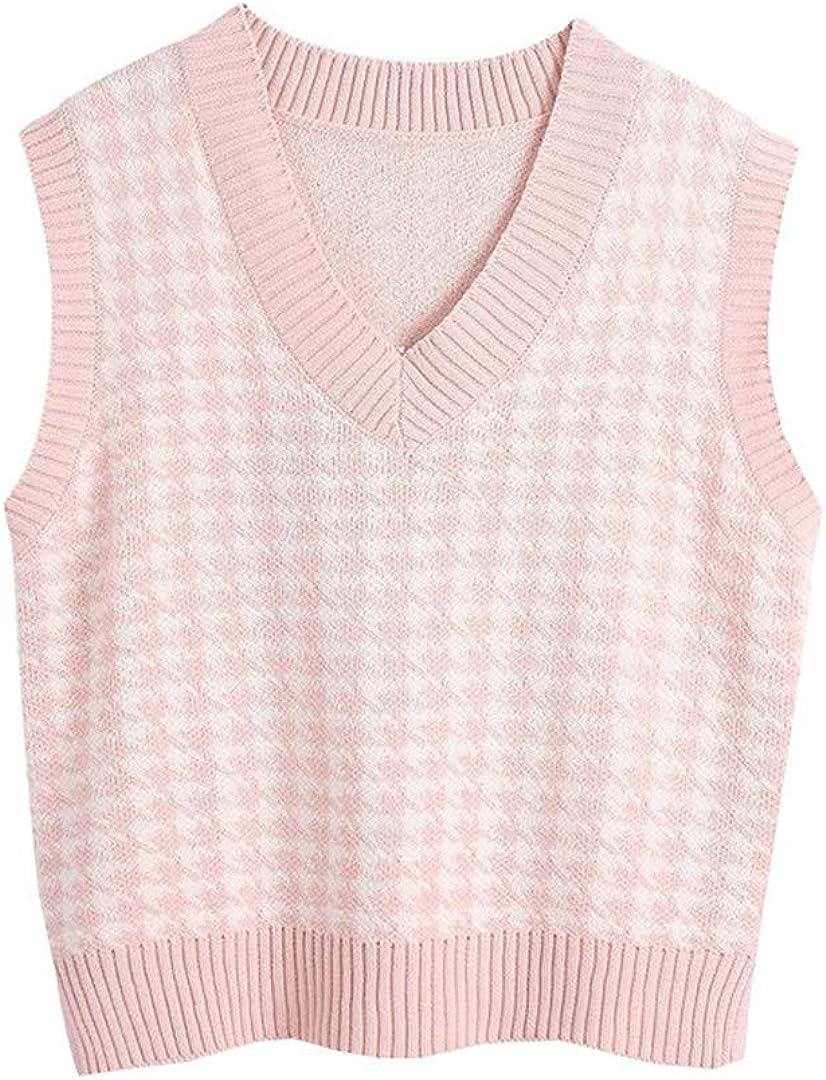 Mann Women Sweater Vest Loose V Neck Sleeveless Knit Jumper Aesthetic Pullover