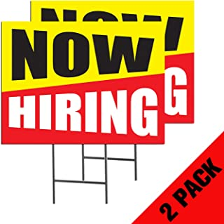 Now Hiring   2-Pack Double Sided Outdoor Yard Signs with Metal Ground Stakes   Full Color   24 x 18 Inches