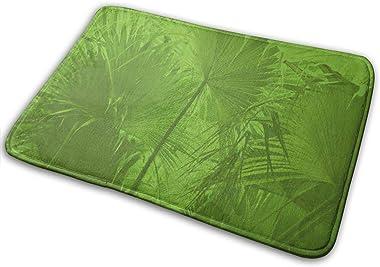 """Bath Mat Green Plam Memory Foam Bath Mats Non Slip Soft Absorbent Bath Rugs Rubber Back Runner Mat for Kitchen Bathroom Floors 15.7"""" X 23.5"""", White"""