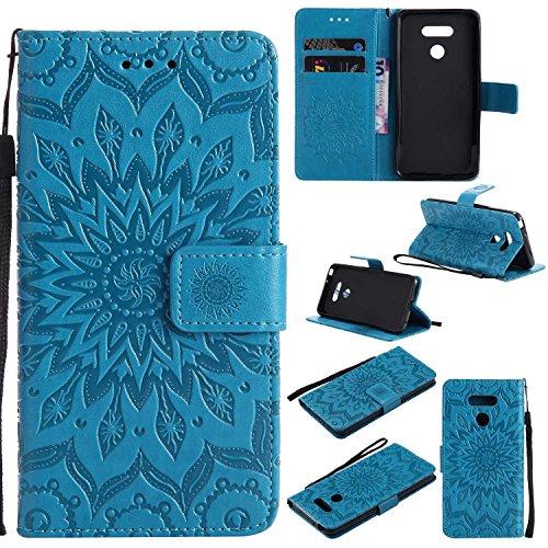 THRION LG G6 Cover, PU Retro Design Flip Portafoglio Copertura Case con Cinturino da Polso Magnetico e Supporto Stand per LG G6, Blu