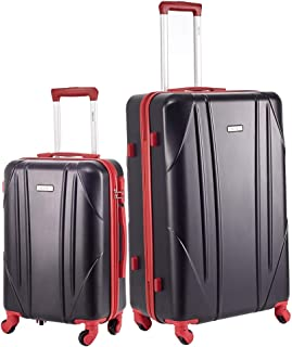 Luggage Sets 2 Pieces Suitcase with Spinner Wheels Hardshell Lightweight luggage Travel 20in 28in (Black & Red)