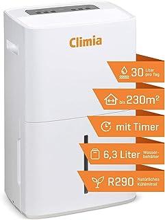 Climia CTK 240 elektrischer Luftentfeuchter mit ökologischem Kühlmittel, kleiner Raumluftentfeuchter max. 30 l/Tag geeignet für Räume bis 230 m3