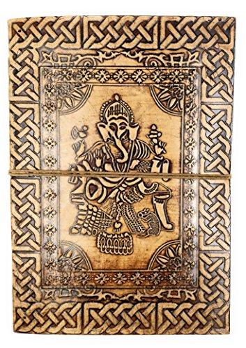 Kooly Zen Notizblock, Tagebuch, Buch, echtes Leder, Vintage, Hellbraun – Beige, 17,5 cm x 25 cm, Premium-Recyclingpapier (Ganesh G)