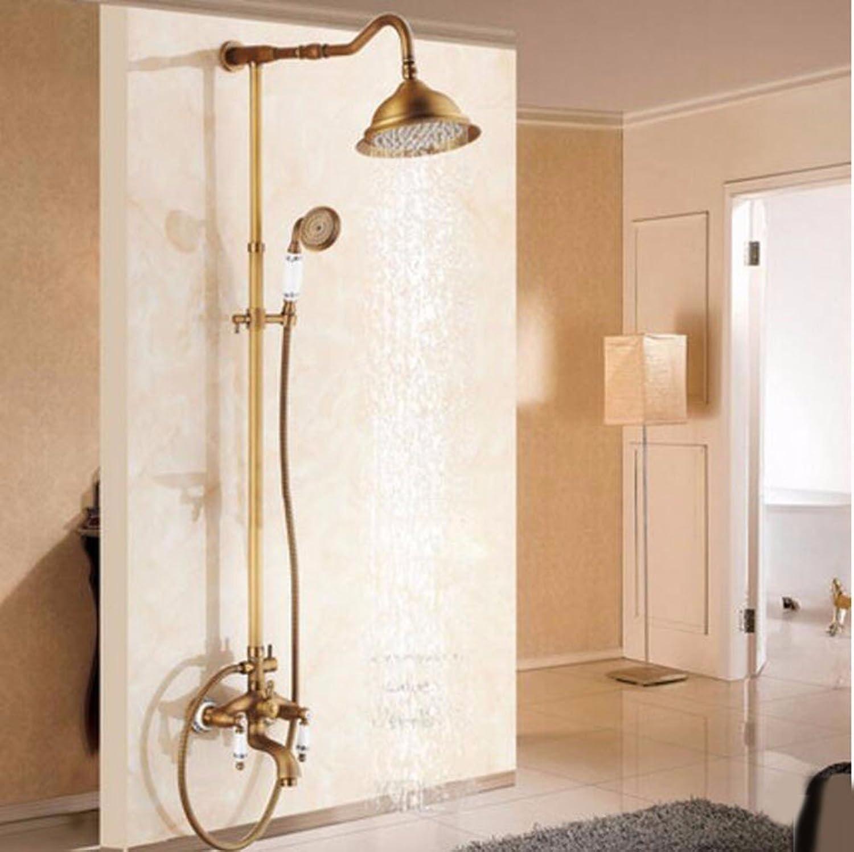 Shower set Antique Shower Shower Set All Copper Bath Hot And Cold Shower Faucet Shower European Style,D