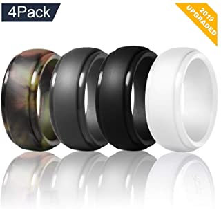 Venti Global Silicone Wedding Ring for Men Rubber Wedding Band 4 Pack Camo Black Grey White