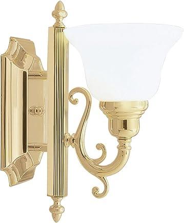 Livex Lighting 1281?–?02?Bath Vanity Withホワイトアラバスターガラスシェード、Polished Brass