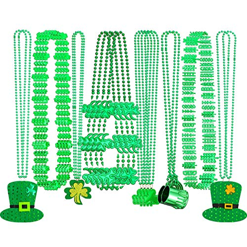Hicarer 24 Stücke St. Patrick's Day Halskette Shamrock Klee Grün Hat Halskette Weinglas Perle Anhänger Halskette für Irish Holiday Festival Dekoration Party Kostüm Zubehör, 8 Arten
