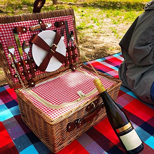 GZP Cesta de Mimbre para Picnic La Cesta Tradicional para Comer Al Aire Libre Incluye Cubiertos, Platos, Ideal para Cenar Y Acampar Al Aire Libre, para 2 Personas
