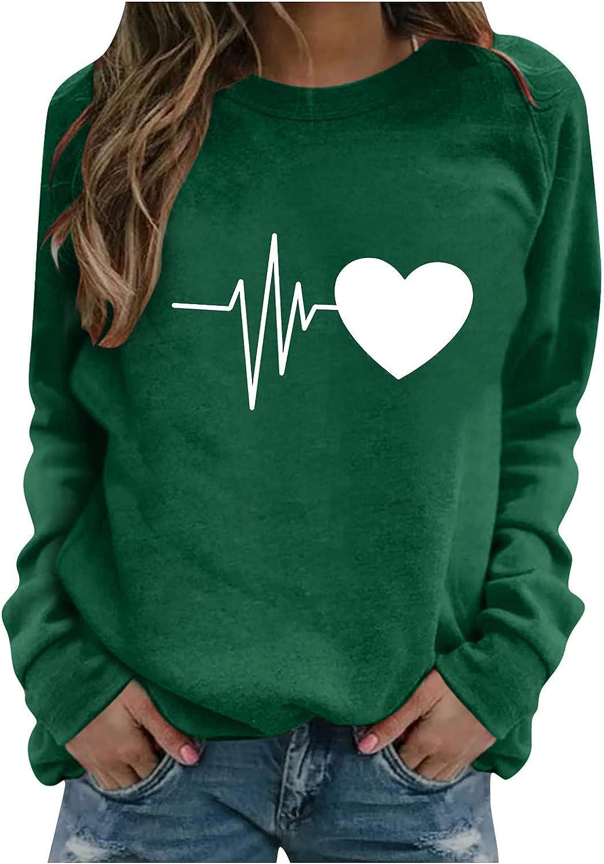 fannyouth Womens Crewneck Sweatshirt,Womens Casual Heart Print Sweatshirt Long Sleeve Shirt Soft Lightweight Loose Tops