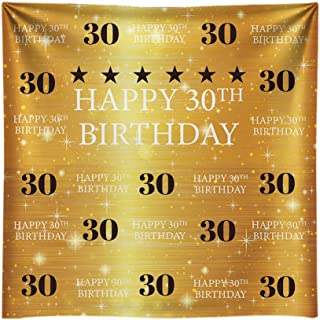 Funnytree 8X8ft Gold 30th Birthday Photography Backdrop Adult Step and Repeat Golden Glitter Shiny Background Thirty Years Old Age Party Decoration Photo Banner Photobooth Props