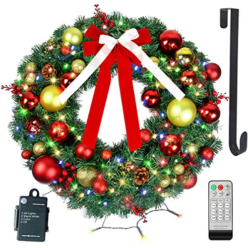 24' Christmas Wreath with Remote LED String Lights - Prelit Xmas Door Wreath - Artificial Pine Garland - Battery Operated Lights with Timer - Including Wreath Hanger, Ornaments Decorations - 24 Inch