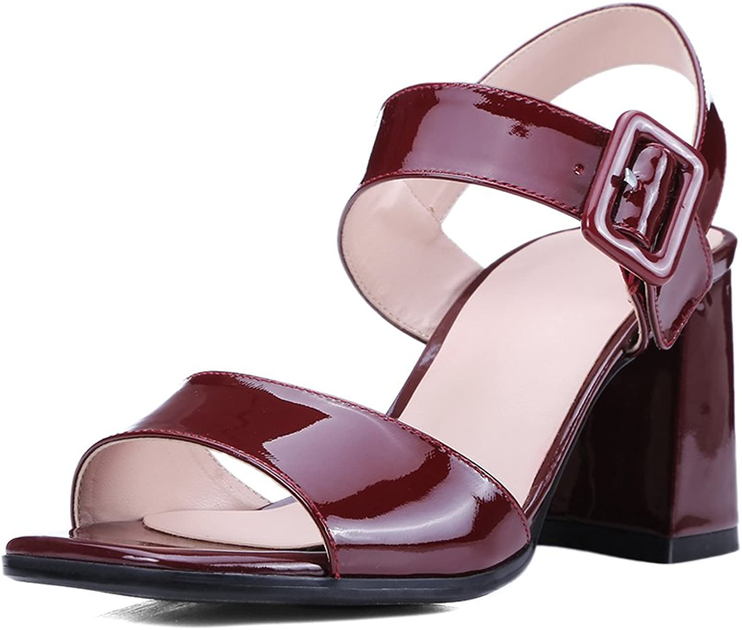MINIVOG Women Chunky High Heel Buckle Strap Leather Sandals