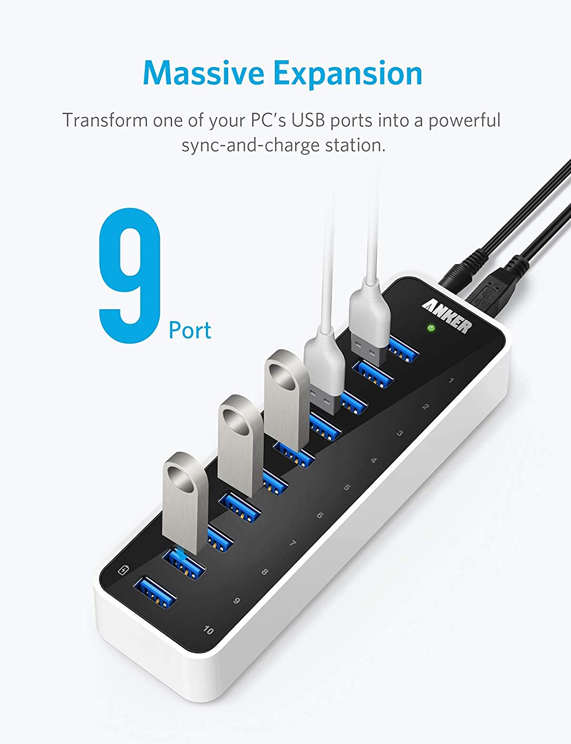 [Upgraded Version] Anker USB 3.0 SuperSpeed 10-Port Hub Including a BC 1.2 Charging Port with 60W (12V / 5A) Power Adapter [VIA VL812-B2 Chipset and Updated Firmware 9081] AH231