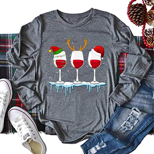 Women Christmas Red Wine Glass Shirt Sparkly Glittery Cup Shirt Cute Christmas Santa Hat Reindeer Graphic Tee Long Sleeve Tops