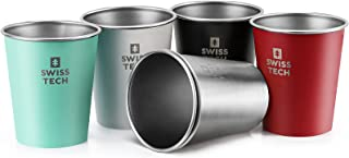 Swiss+Tech 14 oz Stainless Steel Cups, 6 Pack Stackable Pint Cup For Travel, Outdoor and Home