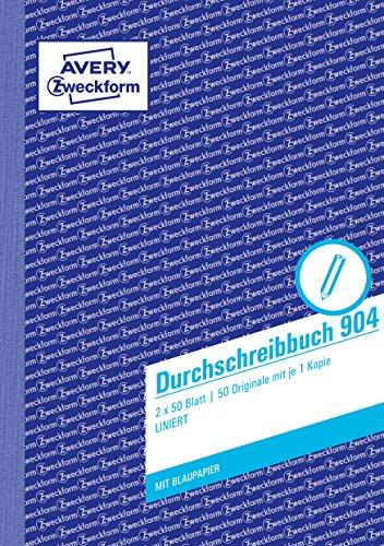 AVERY Zweckform 904 Durchschreibbuch, DIN A5, vorgelocht, 2 x 50 Blatt, weiß