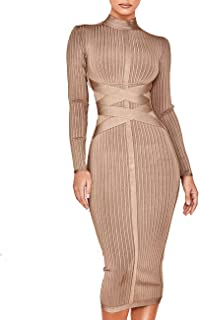 whoinshop Women's Cross Strap Ribbed Bandage Long Sleeve Midi Fall Winter Bodycon Party Dress