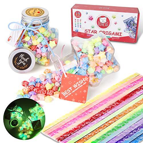 JoyCat 450 Hojas Luminosas de Origami Papel con Dos Botellas de Plástico en Forma de Estrella, Tiras de Papel Plegable de Estrellas que Brillan en la Oscuridad Tiras de Papel de 15 Colores