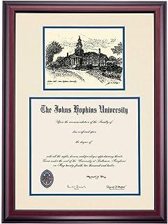 OCM Diploma Frames   Johns Hopkins University Blue Jay   Display Diploma Certificate 14 x 17   Royal Mat   Home Office & Office Professional   Education Framed Diploma   Graduation Gift   Custom Frame