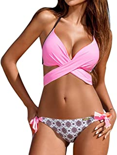 Cross Halter Bandage Low Rise Bathing Suit 2PCS Bikini Set Swimwear