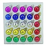 Christmas Concepts Paquete de 25 Mini Bolas de Discoteca Brillantes Brillantes, Mate y Brillantes con Forma de árbol de Navidad (Multicolor)