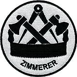 JOB Stick-Aufnäher Patch Zunft Emblem Wappen ZIMMERER Ø 8 cm schwarz/weiß