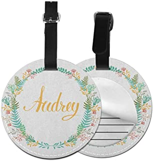 Round luggage tag Audrey Unisex Retro Style Arrangement with Flourishing Nature Flowers and Leaves Signature Pattern,Diameter3.7