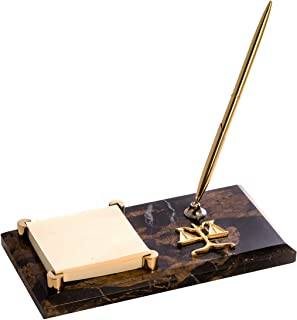 Legal Tiger Eye Marble with Gold Plated Memo Pad Holder & Pe