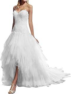 610b949ca4b87 VKStar® Robe Asymétrique Mariée Femme Tulle Dentelle Robe Bustier Mariage  Femme Longue Robe de Mariée