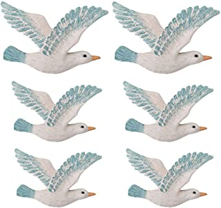 Cabilock 6PCS Seagulls Wall Sculptures Wall Mounted Decor Hanging for Bathroom Livingroom Garden Wall Sculptures