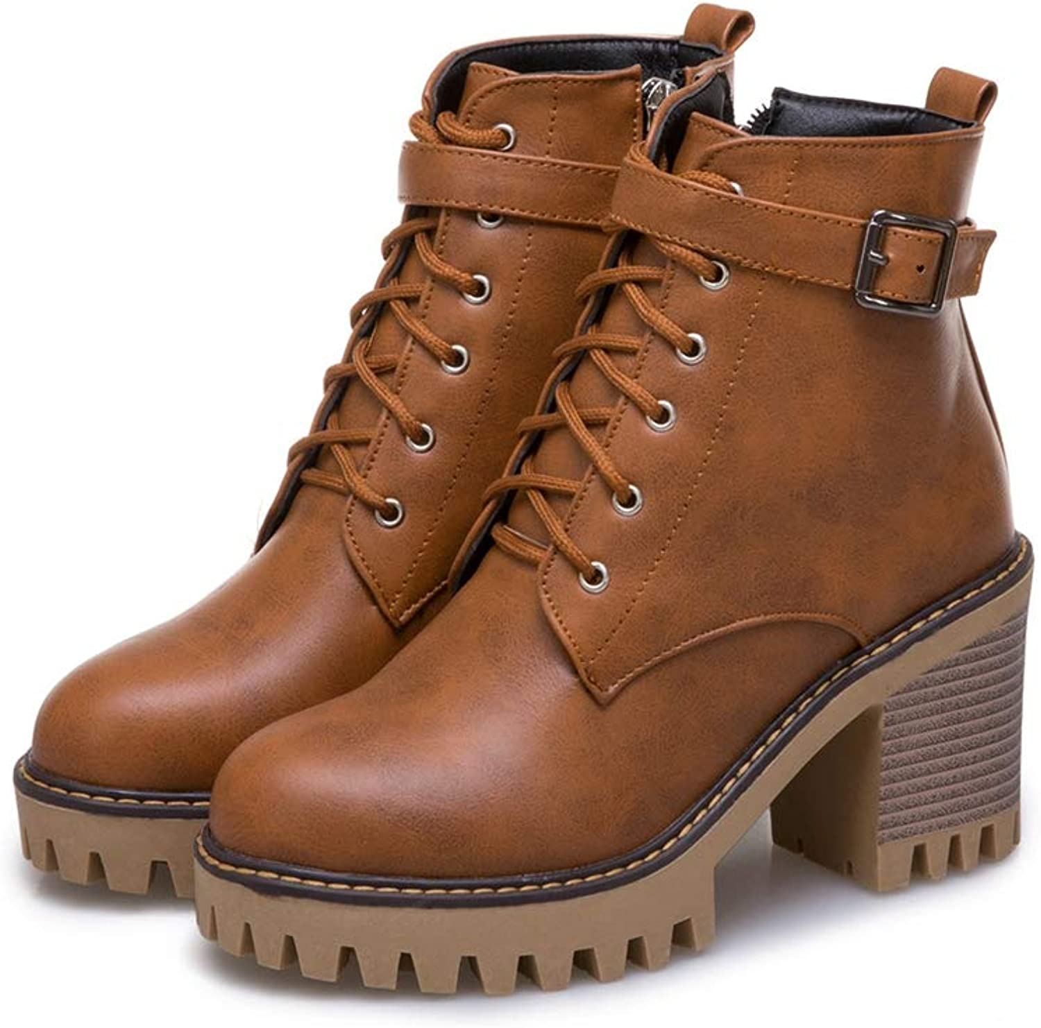 Sam Carle Women Boots, Belt Buckle Side Zipper Thick Heel Round Toe Ankle Martin Boots