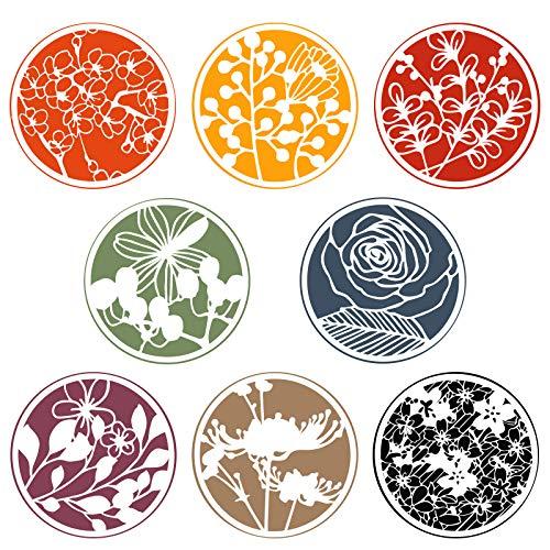 OOTSR 8 Plantillas Para Pintar Flores, Plantillas Para Pintar Y Dibujar, Plantilla de Mandala Para áLbumes de Recortes, Tarjetas de FelicitacióN, DiseñOs ArtíSticos