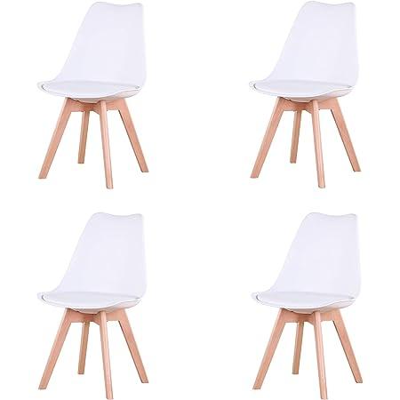 Uderkiny Lot de 4/6 chaises Chaises de Salle à Manger avec Coussins et Pieds en hêtre pour Salle à Manger Cuisine Bureau, etc (Blanc-4)