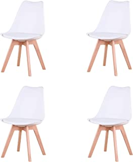 Uderkiny Conjunto de 4/6 sillas Sillas de Comedor con Cojines y Patas de Haya aptas para Comedor salón Cocina Oficina, etc (Blanco-4)