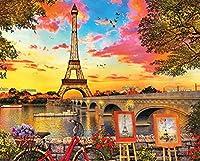 ジグソーパズル500ピース SHanguoYエッフェル塔のロマンチックなストリートビュー自転車ジグソーパズルフェリー 子供の誕生日プレゼント女の子へのサプライズギフト大人のジグソーパズル芸術パズル家の装飾