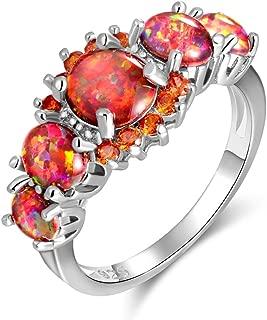 CiNily Rhodium Plated Created Orange/White Fire Opal Orange Garnet Women Jewelry Gemstone Ring Size 5-12