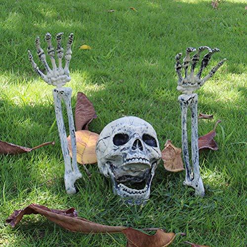 Qeedio Halloween Skelet 3 Stks Plastic Skeleton Hoofd en Handen Set voor Halloween Party Tuindecoratie