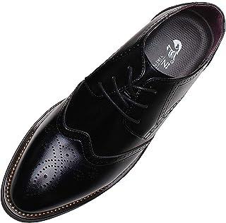 ANUFER Hombres Inteligente Punta Puntiaguda Zapatos de Vestir con Cordones Formal Negocios Boda Brogues