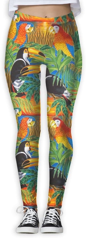 Sunset Toucan Parred Womens Power Flex Running Yoga Pants Workout Tights Leggings Trouser