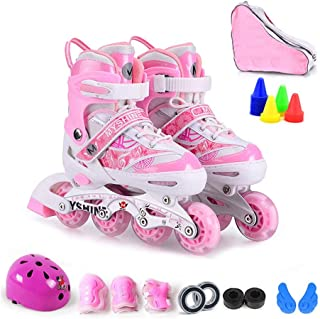 CHEXIAOlbx Male and Female Children Beginners Can Adjust Inline Skates Outdoor Thickened Bracket Roller Skates